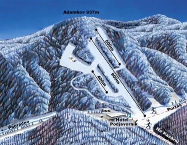 Landkarte - Ski Podjavorník - mapa