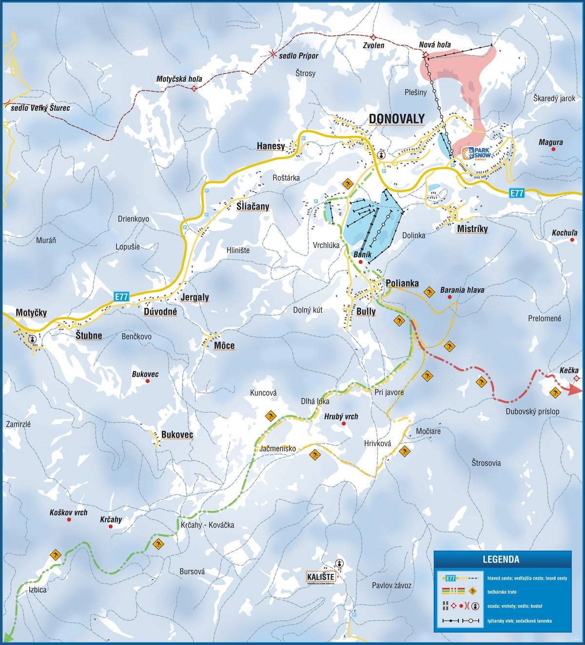 Mapa - Bežkárske trate