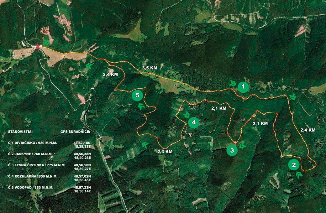 Mapa - Cyklotrasa Fačkovské sedlo