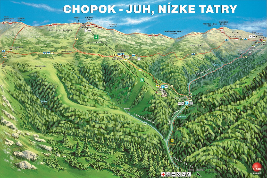 Mapa - Chopok Juh - leto