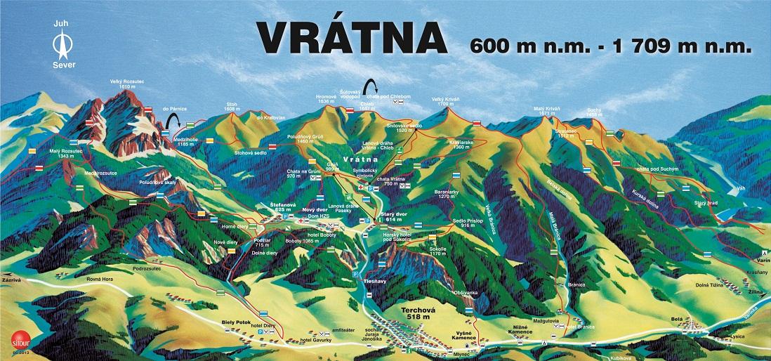 Mapa - Terchová - Vrátna (Leto)