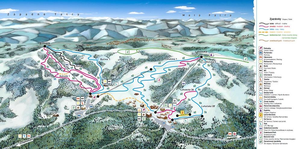 Mapa - Mapa Orava Snow - Oravská Lesná