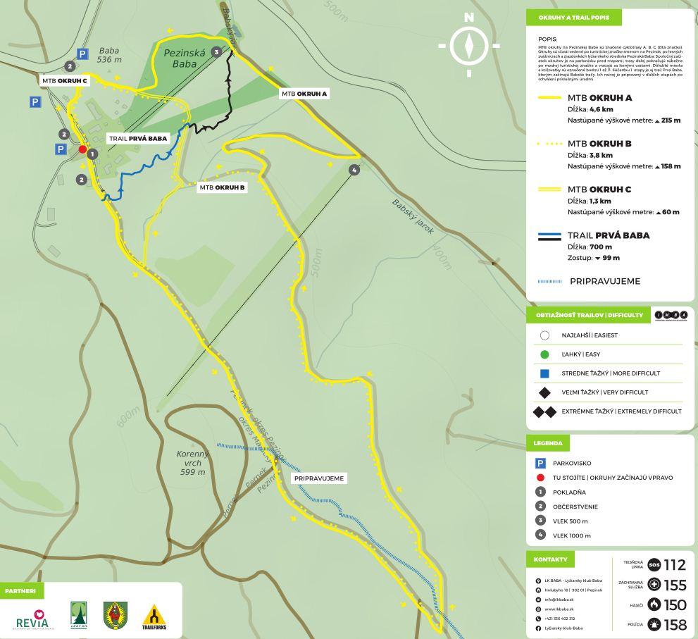 Map - Pezinská Baba - mapa trailov