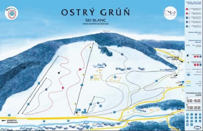 Mapa - Ostrý Grúň (Zima)