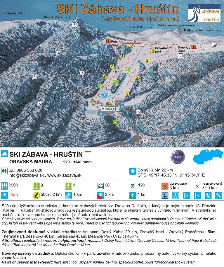 Landkarte - Ski Zábava - Vasiľovská hoľa